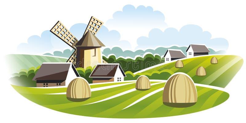 Village landscape. Windmill in field. royalty free stock photo