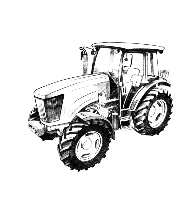 Agricultural machine or agronomy, black, equipment, farm, farmer, farming, field, illustration industry,. Tractor b_w for the agricultura illustration vector illustration