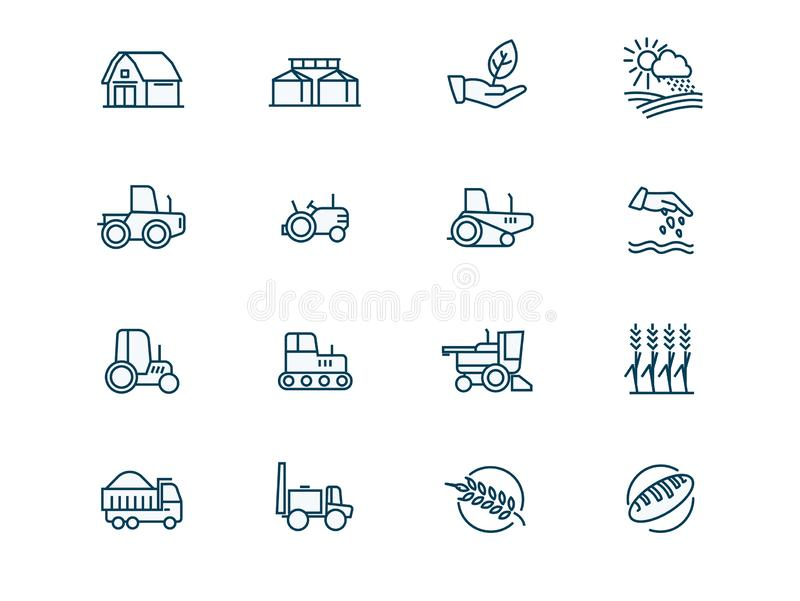 Agricultural machinery and agribusiness vector linear icons set royalty free illustration