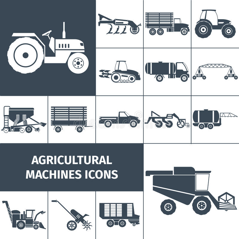 Agricultural Machinery Black White Icons Set vector illustration