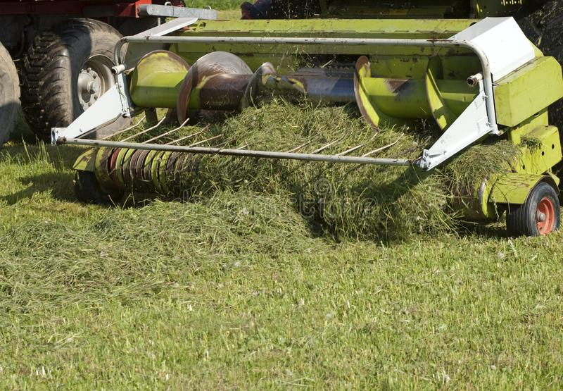Agricultural machinery for cutting grass for silage. Detail of the machine stock photos