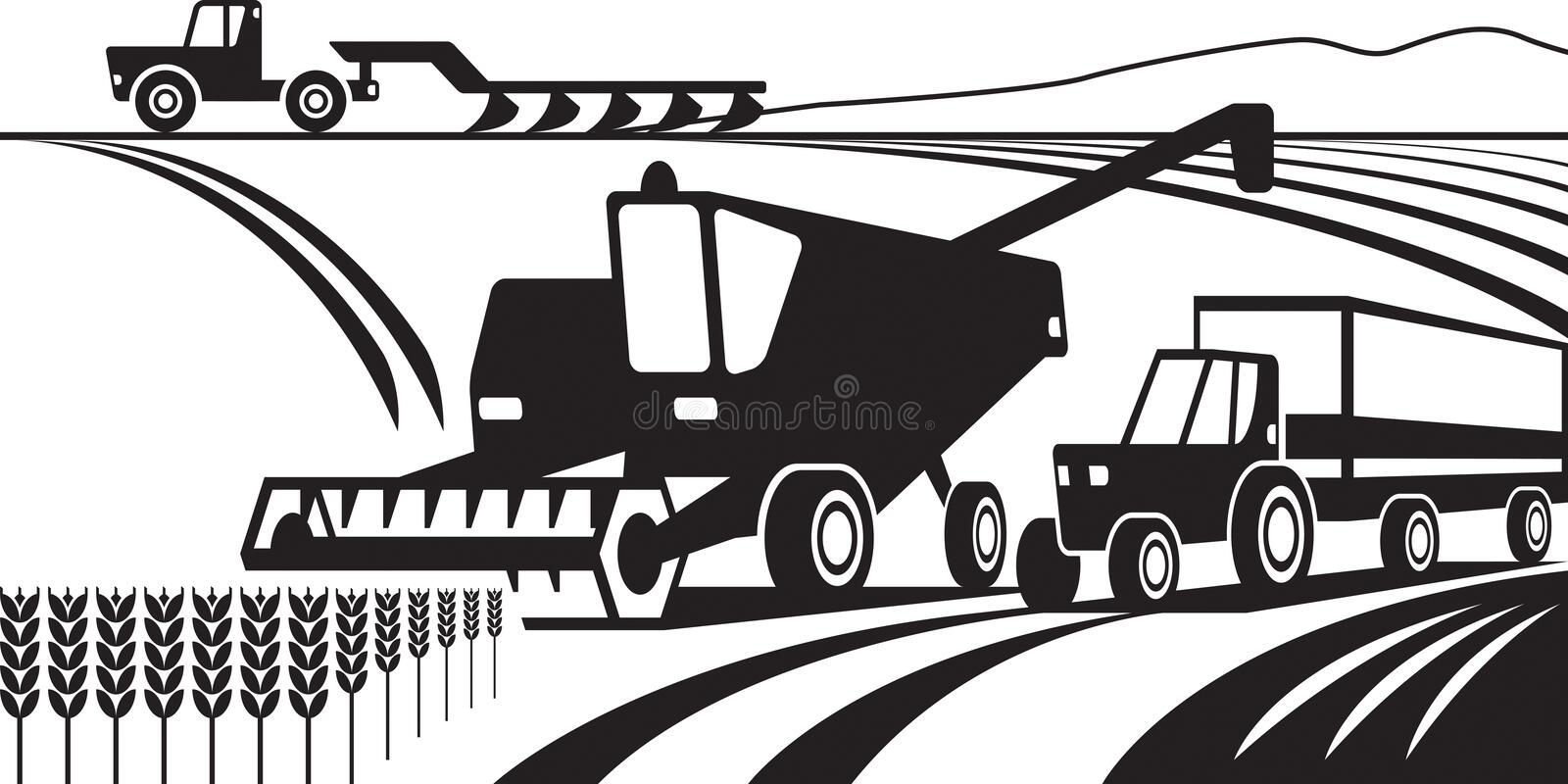 Agricultural machinery in the field stock illustration