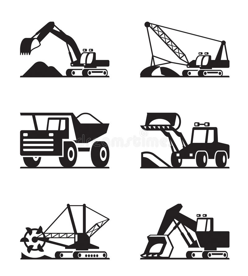 Agricultural machinery icon set royalty free illustration