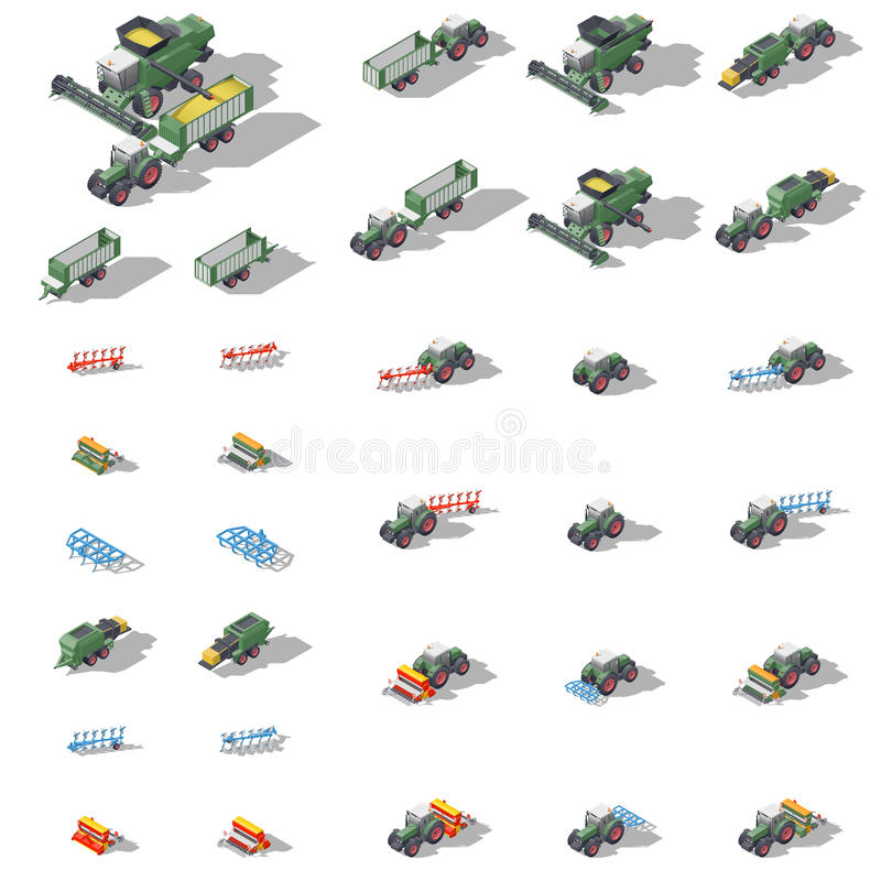 Free Agricultural Machinery Isometric Icon Set Royalty Free Stock Images - 88397879