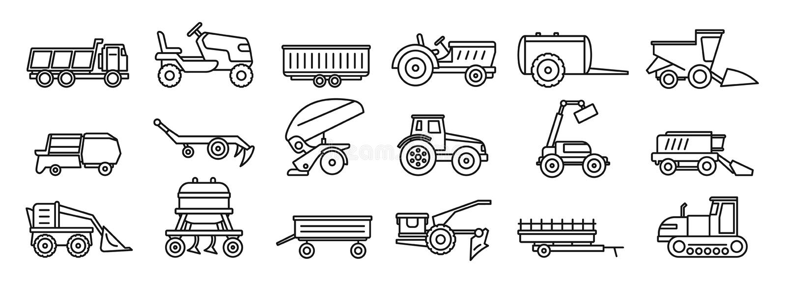 Agricultural machines equipment icons set, outline style royalty free illustration