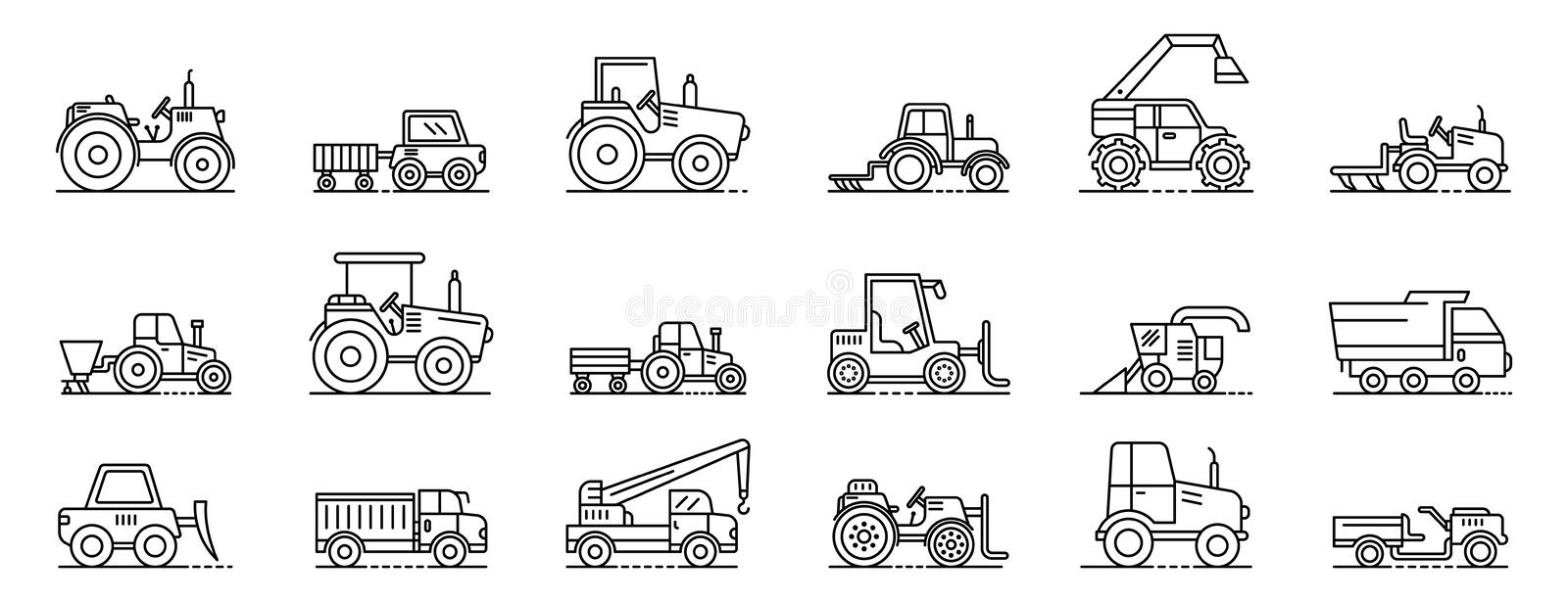 Agricultural machines icons set, outline style vector illustration