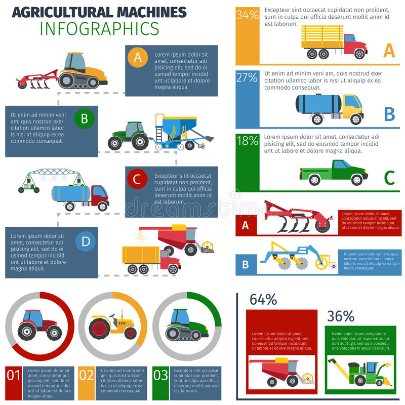 Agricultural Machines Infographic Set vector illustration