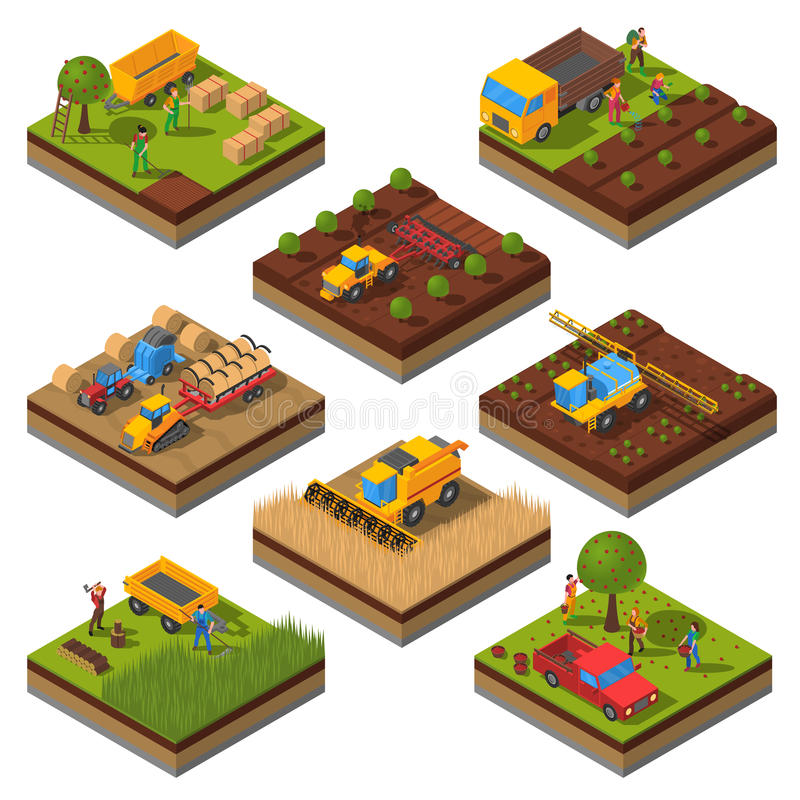 Free Agricultural Machines Isometric Field Set Stock Photography - 71352022