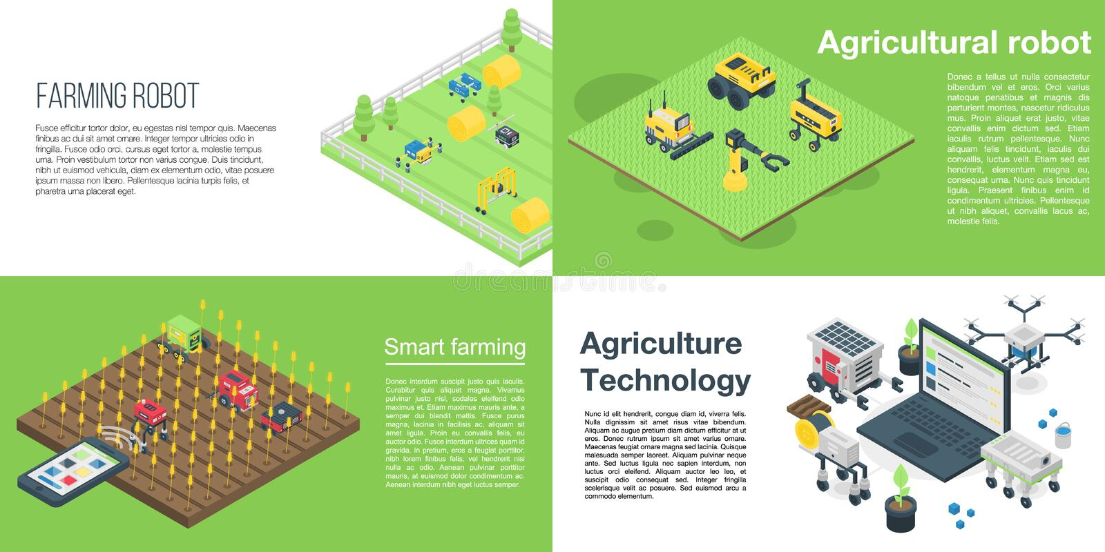 Agricultural robot banner set, isometric style stock illustration