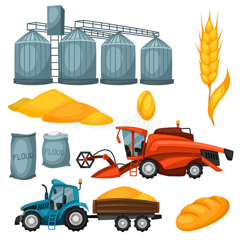 Agricultural set of harvesting items. Combine harvester, tractor and granary.  vector illustration