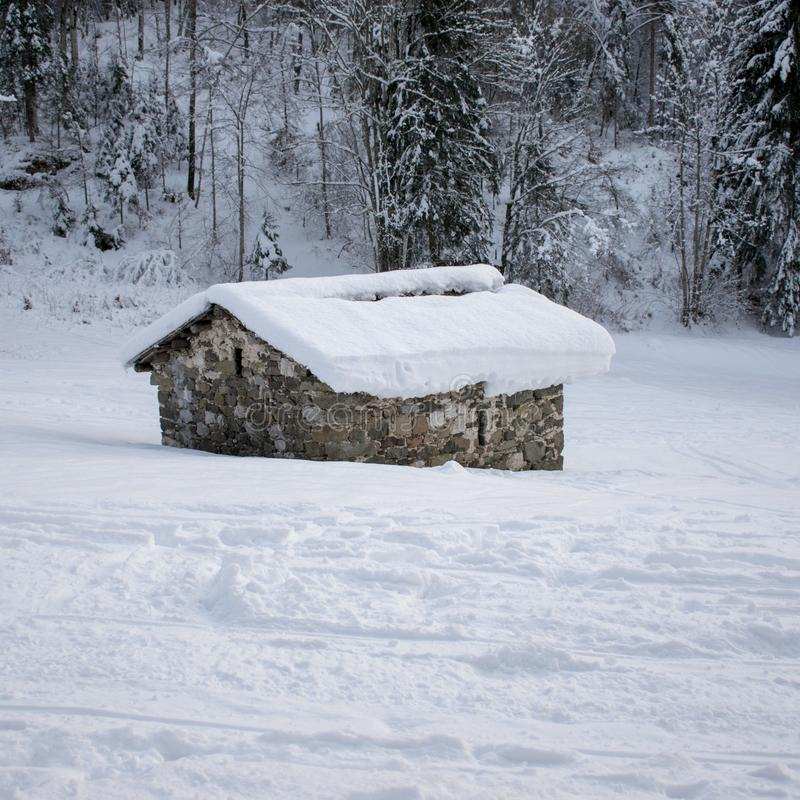 Agricultural shelter in winter. Winter, snow, dwelling, landscape, cold, cabin, mountain, trees, nature, forest, christmas, bungalow, hut, barn, wooden, white stock photo