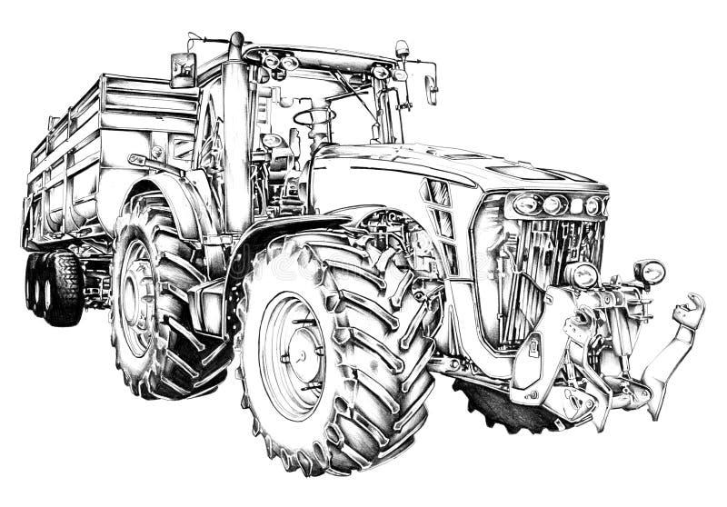 Agricultural tractor illustration art drawing stock - Dessin anime de tracteur john deere ...