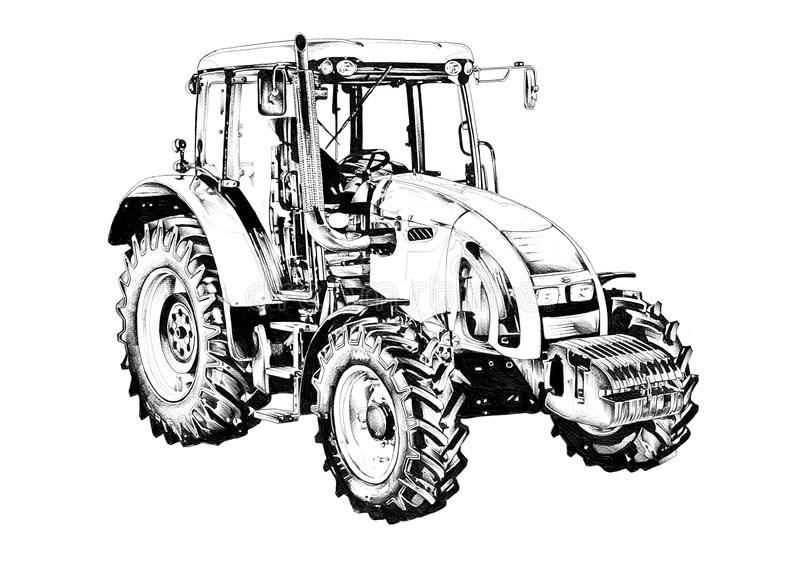 Agricultural tractor illustration art drawing stock illustration
