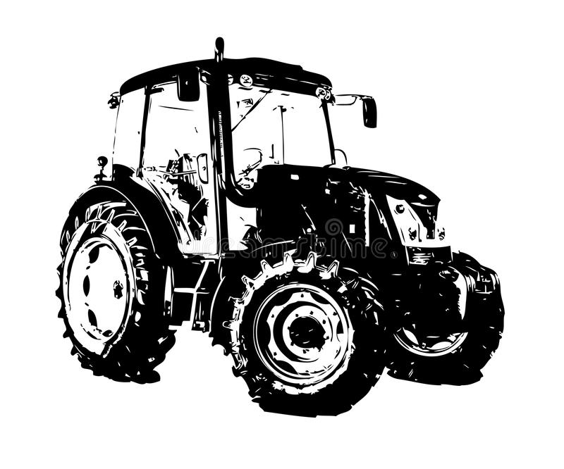 Agricultural Tractor Illustration Color Art Drawing Stock ...