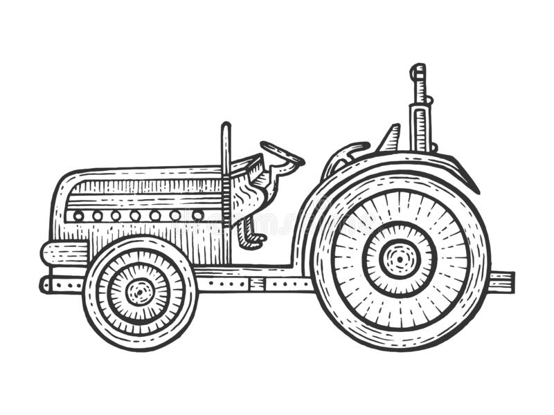 Agricultural tractor sketch engraving vector stock illustration