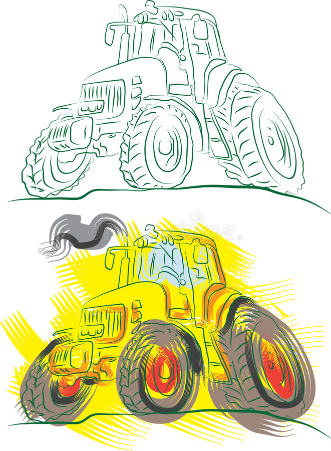Agricultural tractors. Color illustration stock illustration