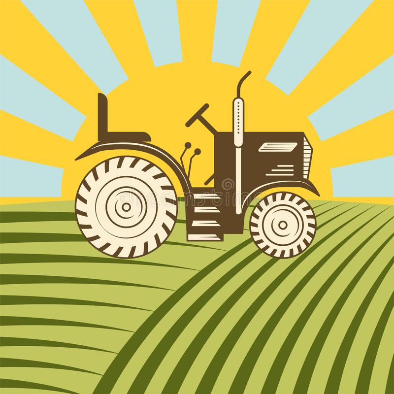 Agricultural vehicle tractor or harvester machine combine plowing mowing royalty free illustration