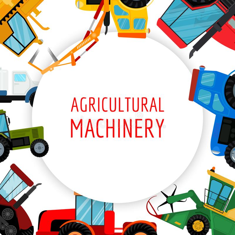 Agricultural vehicles and farm machines vector illustration. Tractors, harvesters, combines. Agriculture business stock illustration