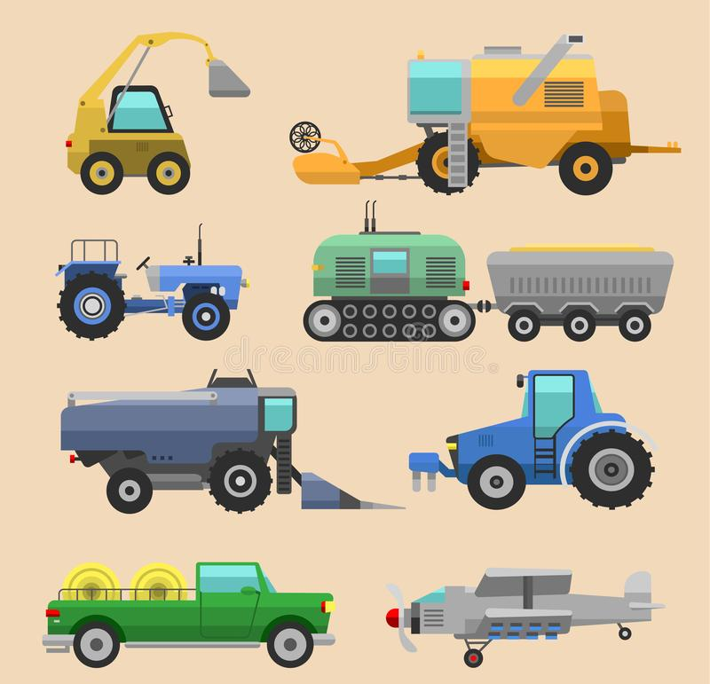 Agricultural vehicles harvester tractor machine, combines and excavators. Icon set agricultural harvester machine with. Accessories for plowing, mowing royalty free illustration