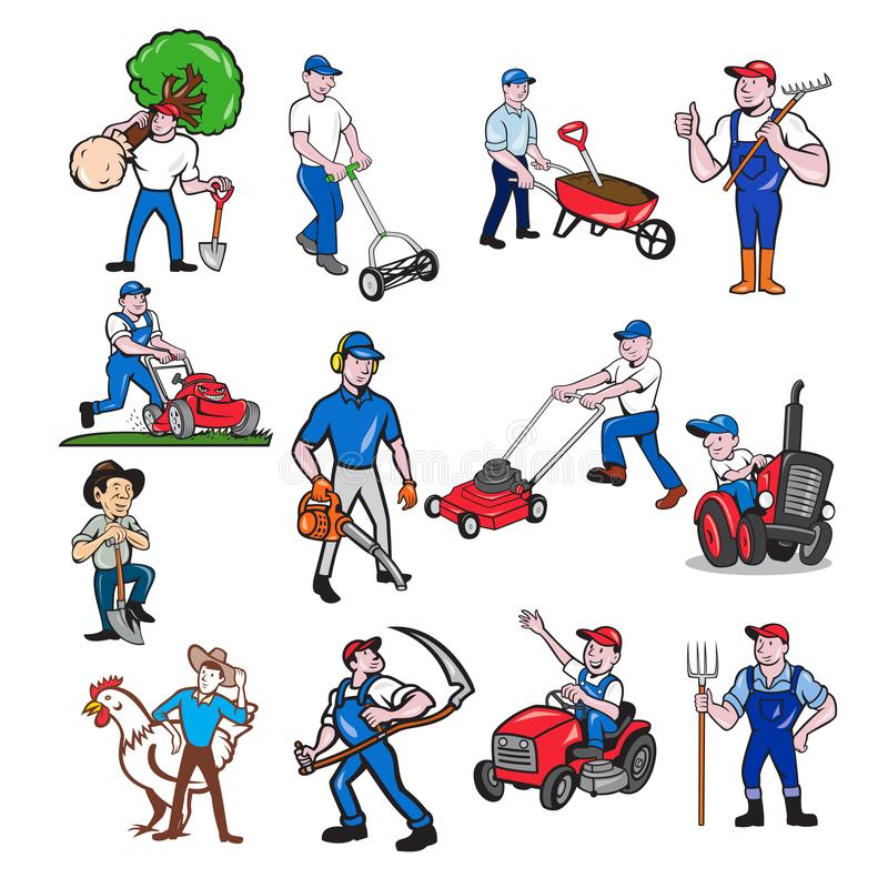 Agricultural Worker Mascot Cartoon Set stock illustration
