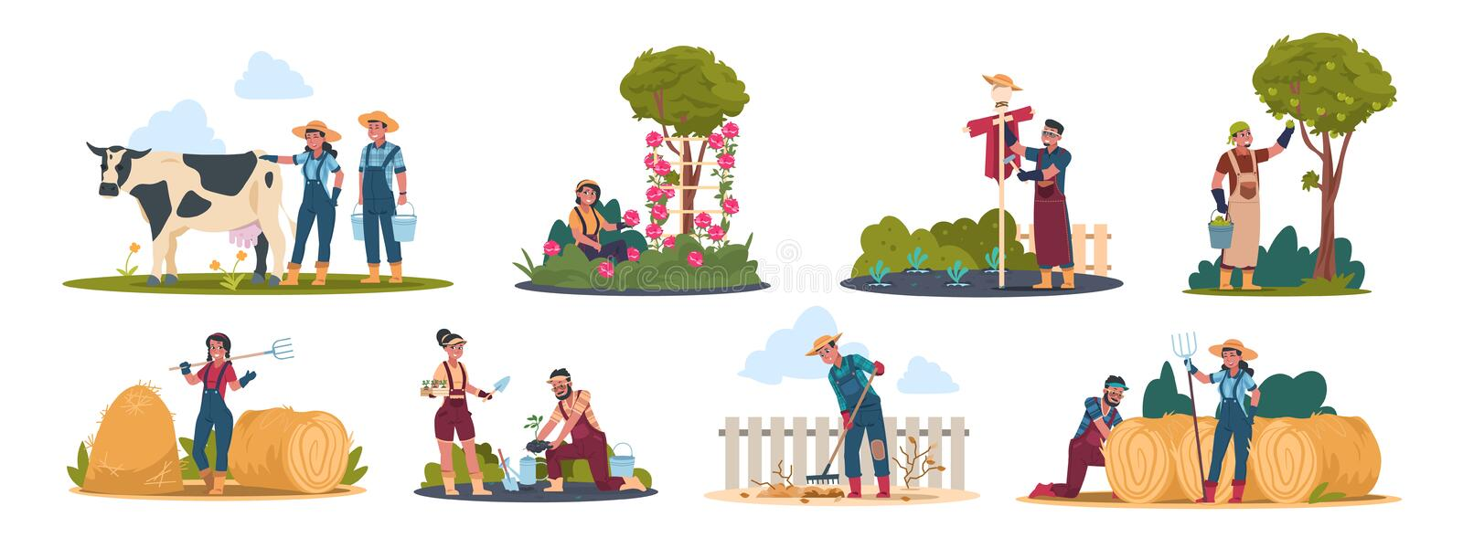 Agricultural workers. Harvesting people on field and in garden, cartoon characters doing farming job. Vector organic royalty free illustration