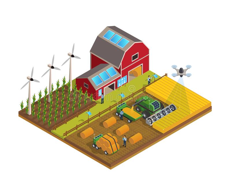 Agriculture automation smart farming composition with editable text and view of field cultivation with modern royalty free illustration
