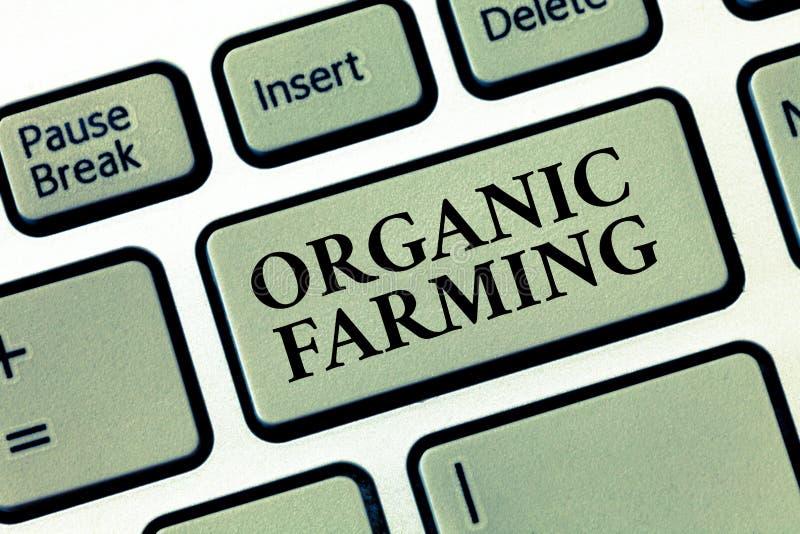 Agriculture biologique des textes d'écriture Concept signifiant un système d'exploitation agricole intégré qui essaye d'obtenir l images stock