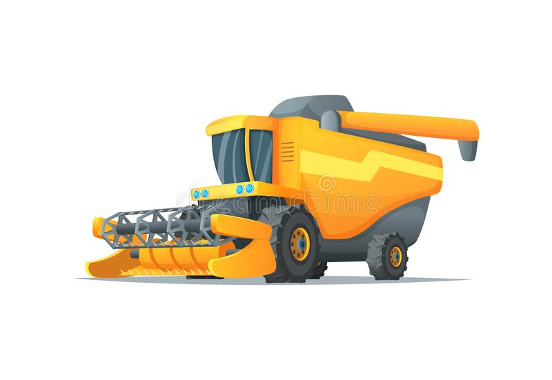Agriculture combine harvester isolated vector illustration. Rural industrial farm equipment machinery, farm transport vector illustration