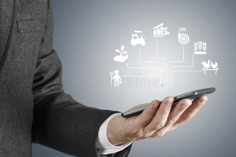 Agriculture consept. Business man searching icon screen interface stock photos