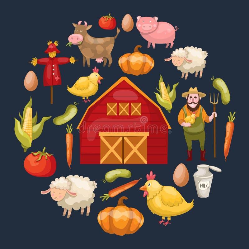 Agriculture de la composition ronde en éléments illustration stock