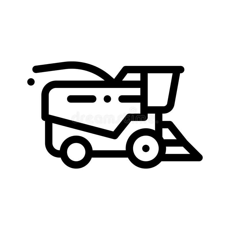 Agriculture de la ligne mince icône de vecteur de véhicule de moissonneuse illustration de vecteur