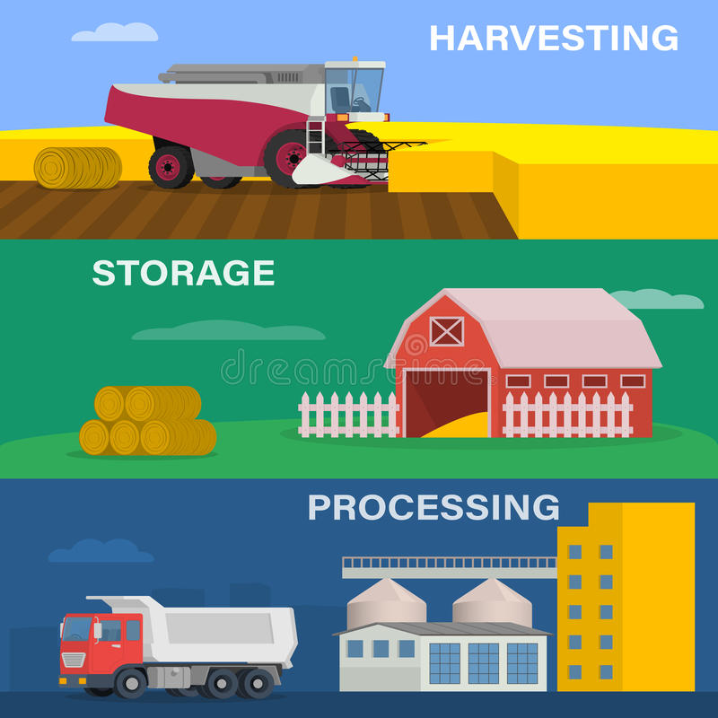 Agriculture design concept set with of the process of harvesting crops, starage and processing of factory. Farming horizontal banner vector set of agricultural stock illustration