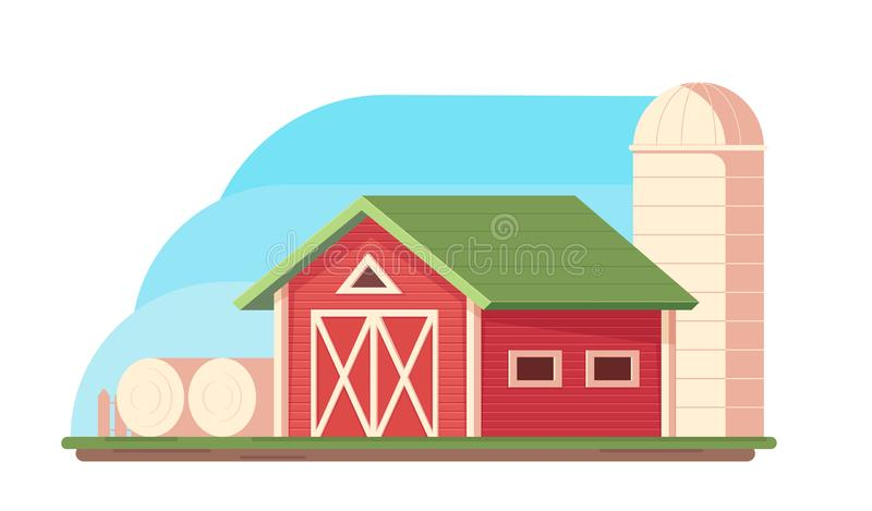 Agriculture. Farm landscape. Red barn, hopper for grain storage and harvest, silo storage and haystack. Vector flat illustration royalty free illustration
