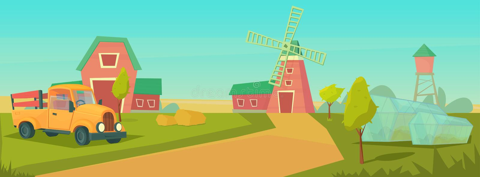 Agriculture. Farm rural landscape with orange truck, red barn, house and ranch, water tower and haystack. Agriculture. Farm rural landscape with orange truck stock illustration