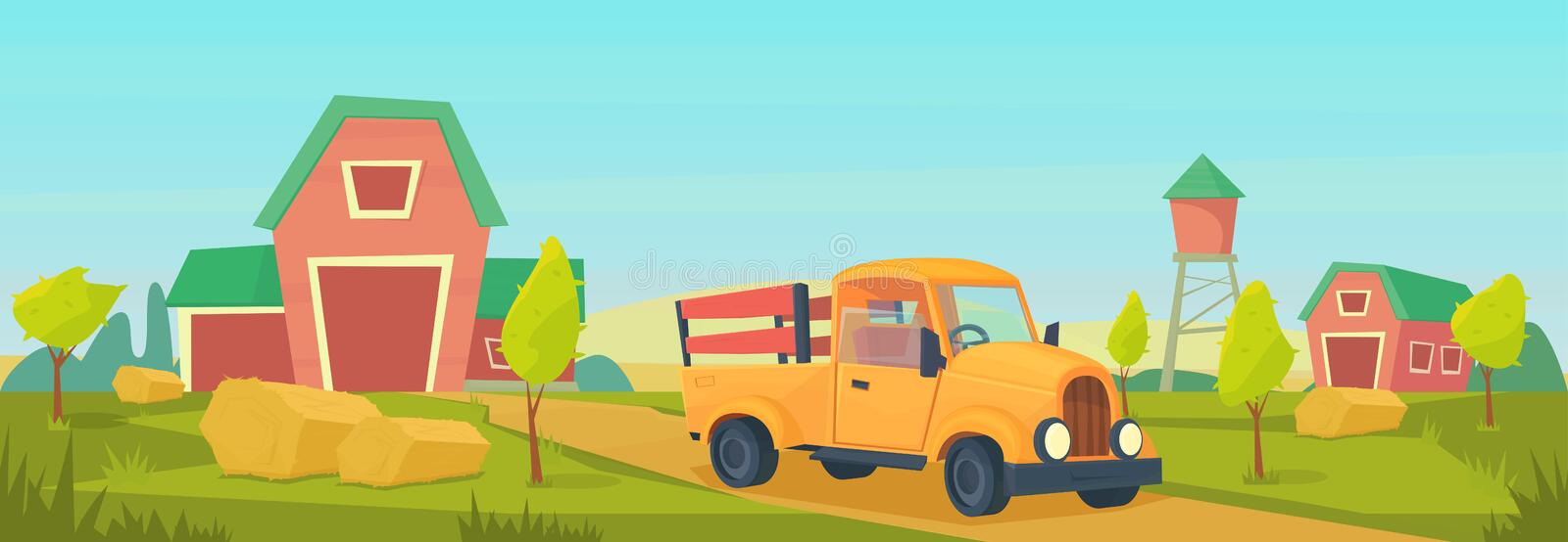 Agriculture. Farm rural landscape with orange truck, red barn, house and ranch, water tower and haystack. Vector flat illustration stock illustration