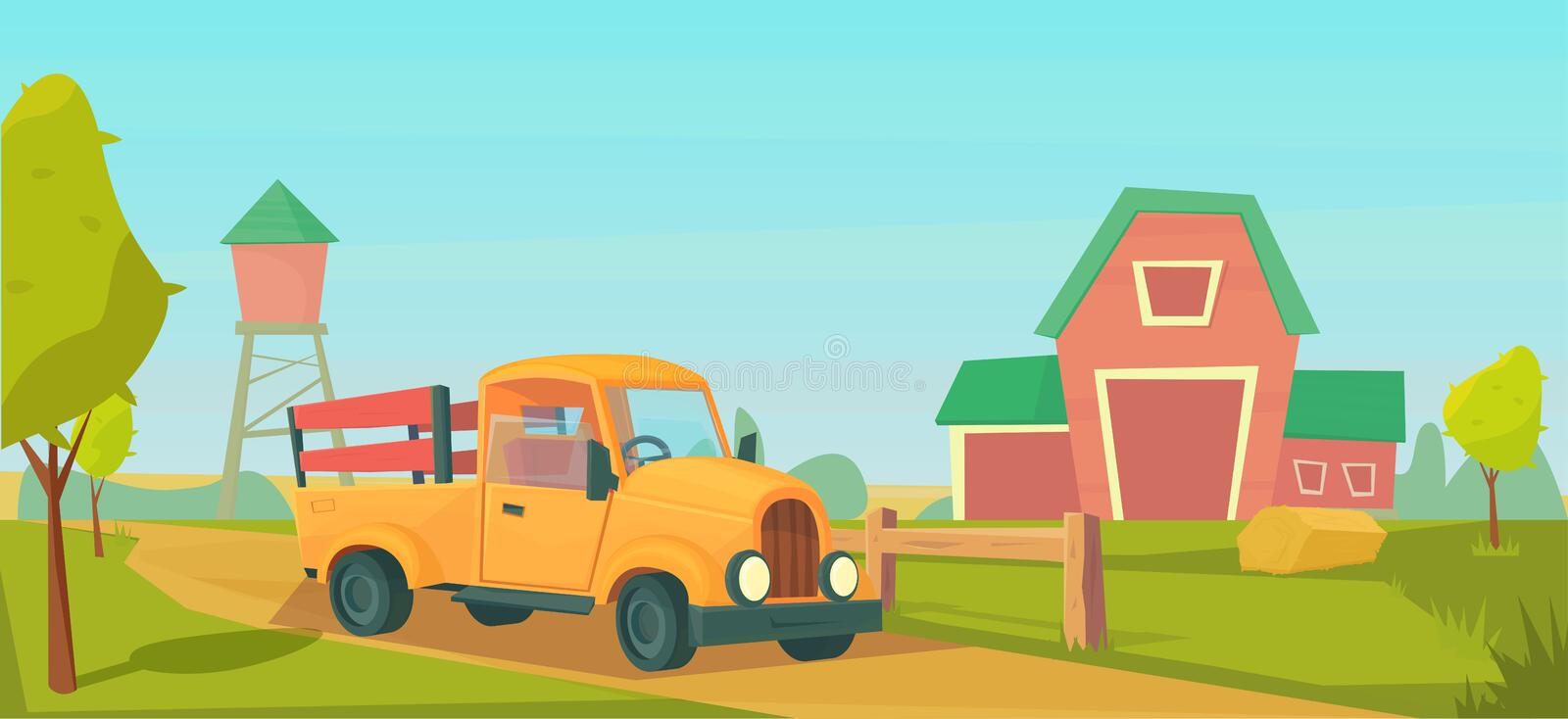Agriculture. Farm rural landscape with orange truck, red barn, house and ranch, water tower and haystack. Vector flat illustration vector illustration
