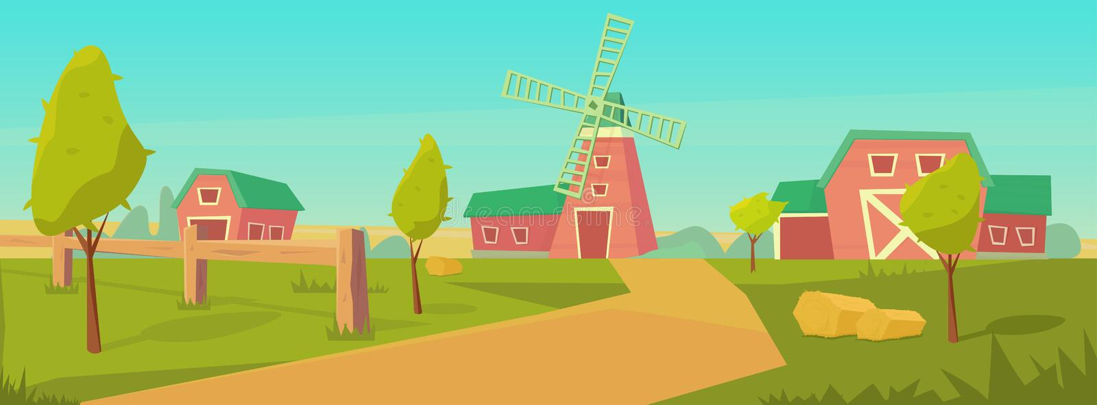 Agriculture. Farm rural landscape with red barn, house and ranch, water tower and haystack. Vector flat illustration royalty free illustration