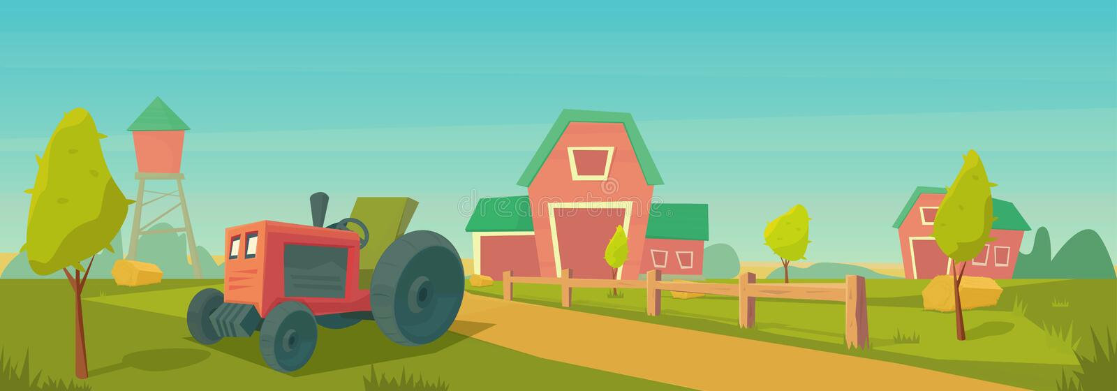 Agriculture. Farm rural landscape with red barn, tractor. Vector cartoon illustration vector illustration