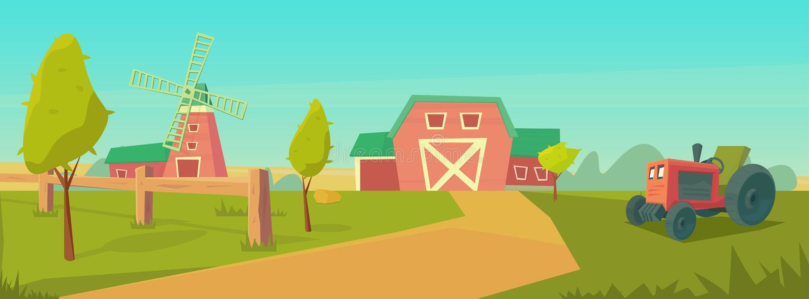 Agriculture. Farm rural landscape with red barn, tractor and windmill. Vector cartoon illustration stock illustration