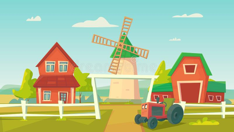 Agriculture. Farm rural landscape with red windmill and tractor. Vector cartoon illustration vector illustration