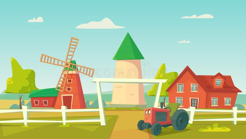 Agriculture. Farm rural landscape with red windmill and tractor. Vector cartoon illustration royalty free illustration