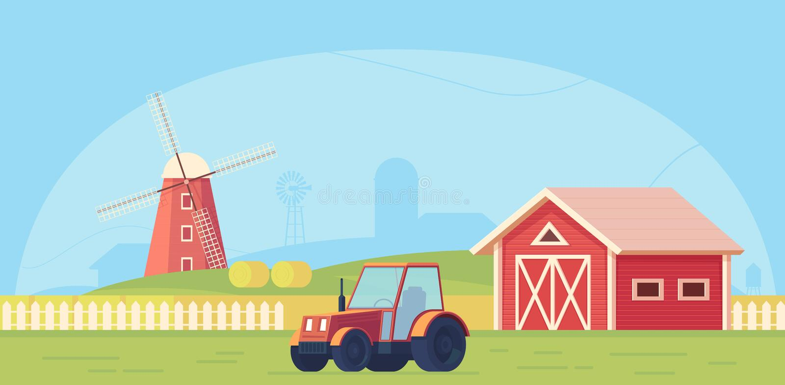 Agriculture. Farm rural landscape with red windmill, tractor and haystack. Vector flat illustration vector illustration