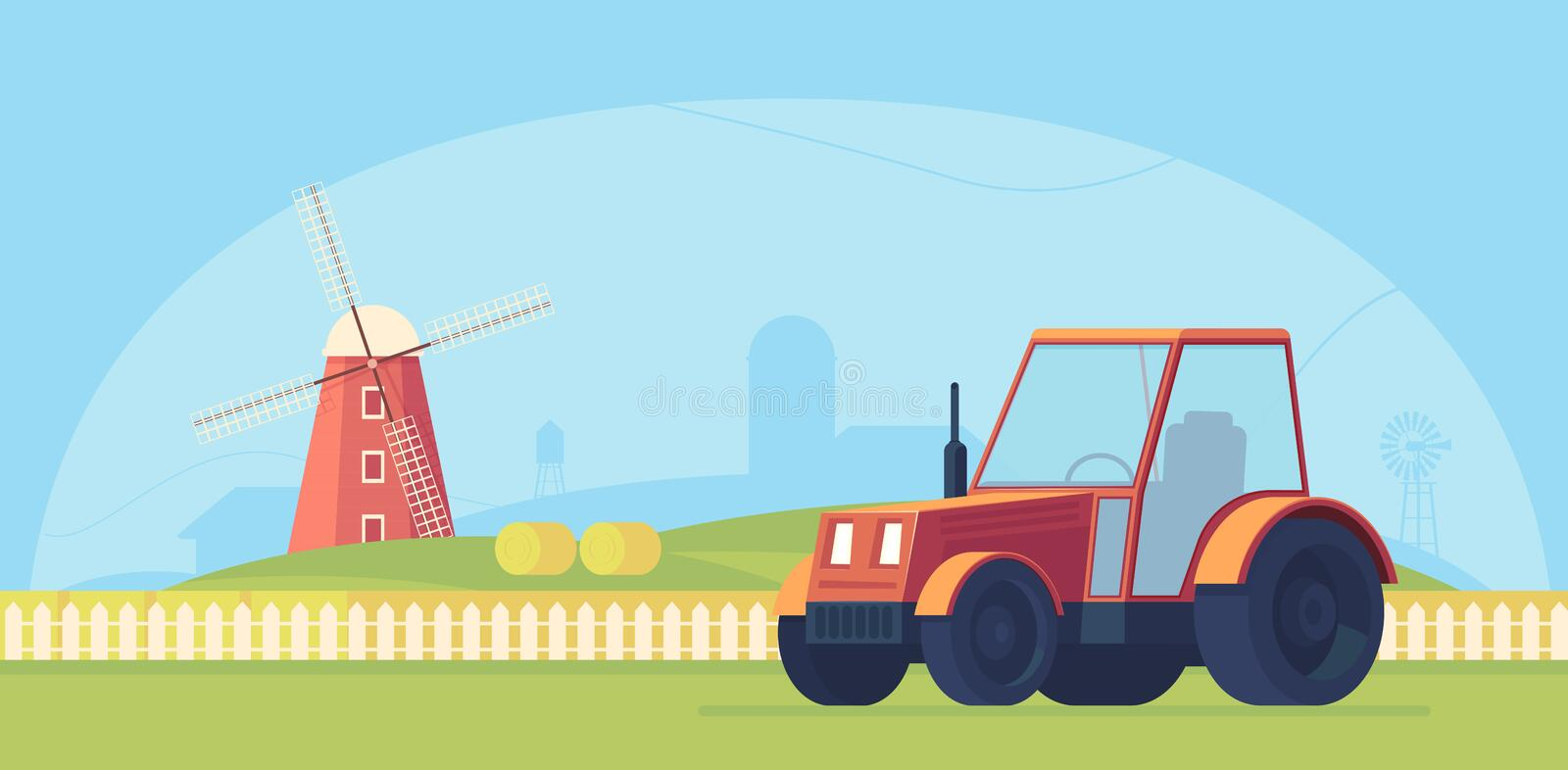 Agriculture. Farm rural landscape with red windmill, tractor and haystack. Vector flat illustration royalty free illustration