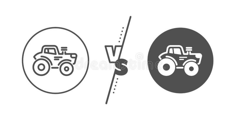 Tractor transport line icon. Agriculture farm vehicle sign. Vector. Agriculture farm vehicle sign. Versus concept. Tractor transport line icon. Line vs classic stock illustration