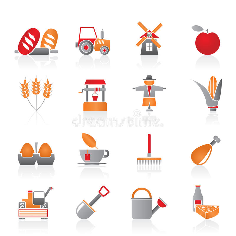 Agriculture and farming icons stock illustration