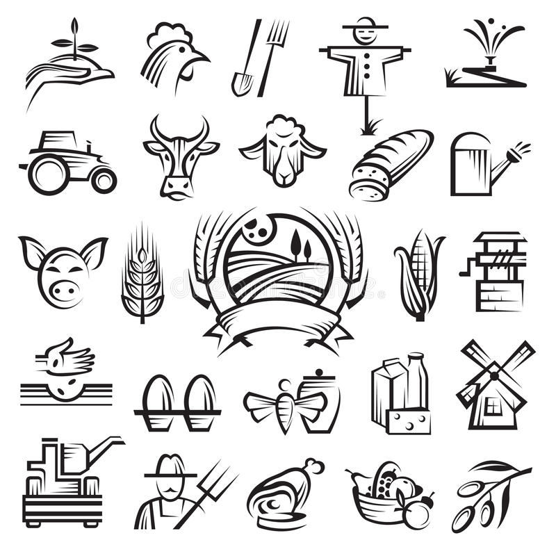Agriculture and farming icons royalty free illustration