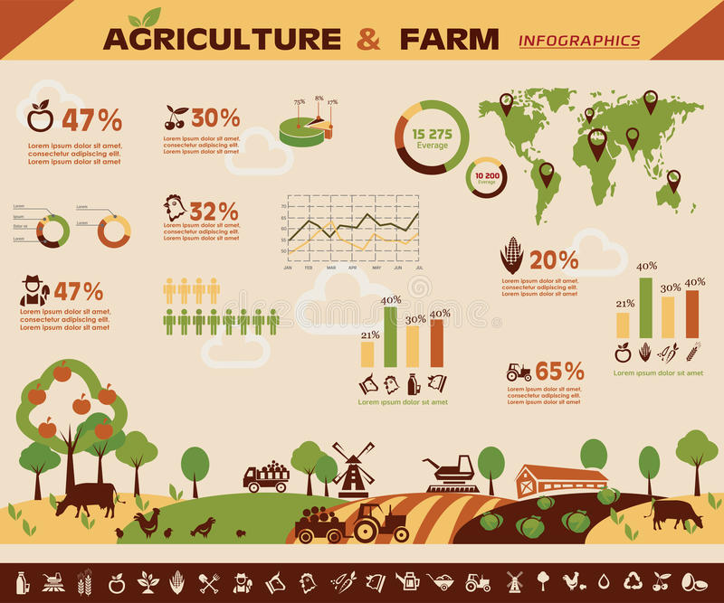 Agriculture and farming infographics. Vector icons collection