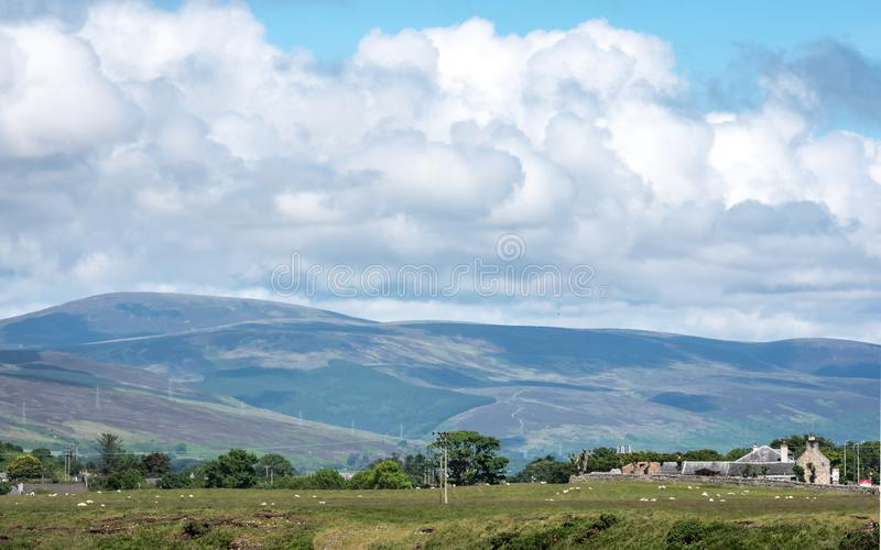 Agriculture and Farming, The Scottish Highlands. A tranquil rural view of the Scottish Highlands in the north east Sutherland district on a bright summer`s day stock photo