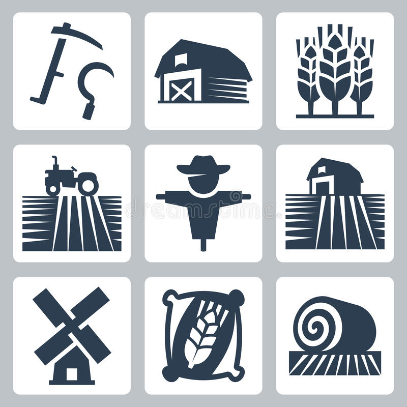 Agriculture and farming vector icons. Set stock illustration