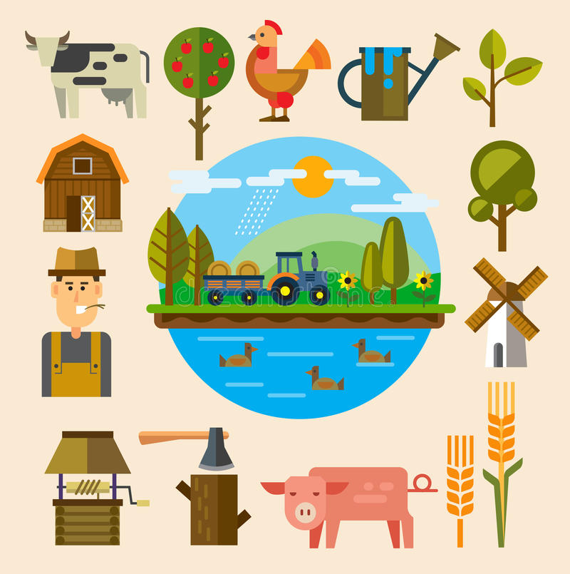Agriculture and Farming vector illustration